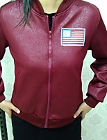 cheap -Women's Casual/Daily Simple Winter Leather Jacket,Solid Round Neck Long Sleeve Regular PU