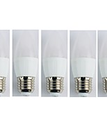 5pcs 4W E27 LED Candle Lights C35L 6 leds SMD 3528 Cold White 320lm 6400K AC 180-240V
