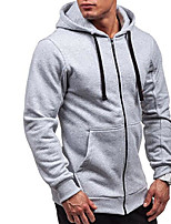 cheap -Men's Petite Casual/Daily Simple Hoodie Solid Hooded Without Lining Micro-elastic Cotton Polyester Long Sleeve Winter Fall