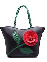 Недорогие -жен. Мешки Полиуретан Сумка-шоппер Цветы для Повседневные Все сезоны Черный Красный Розовый Светло-зеленый Пурпурный