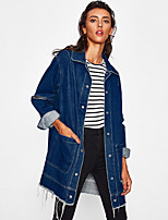 cheap -Women's Casual/Daily Simple Vintage Winter Fall Denim Jacket,Solid Shirt Collar Long Sleeve Long Polyester Oversized