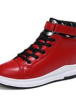 economico -Da donna Scarpe Finta pelle Primavera Autunno Comoda Sneakers Polacche Punta tonda Fibbia per Casual Bianco Nero Rosso