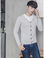 cheap -Men's Sports Going out Long Cardigan,Solid V Neck Long Sleeves Polyester Autumn Fall Medium Micro-elastic
