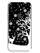 cheap -Case For Apple iPhone X iPhone 8 Transparent Pattern Back Cover Christmas Soft TPU for iPhone X iPhone 8 Plus iPhone 8 iPhone 7 Plus