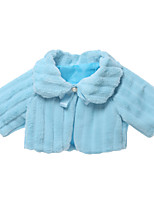 cheap -Girls' Solid Jacket & Coat,Faux Fur Long Sleeves Simple Cartoon Blue Blushing Pink Beige Khaki