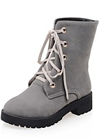 cheap -Women's Shoes Leatherette Winter Combat Boots Boots Low Heel Round Toe Mid-Calf Boots for Casual Dress Green Gray Black