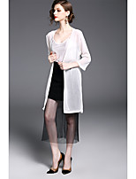 cheap -Women's Daily Casual Summer Fall Trench Coat,Print V Neck Long Sleeve Long Polyester