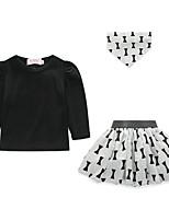 cheap -Girls' Print Clothing Set,Polyester Spring Long Sleeve Active Black