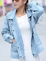 cheap -Women's Casual/Daily Simple Winter Fall Denim Jacket,Solid V Neck Long Sleeve Long Cotton Acrylic Oversized