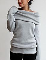 economico -T-shirt Da donna Per eventi Per uscire Casual Moda città Primavera Autunno,Tinta unita Stondata Cotone Poliestere Maniche lunghe Medio