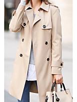 economico -Impermeabile Da donna Casual Semplice Inverno,Tinta unita A V Cotone Acrilico Lungo Maniche lunghe Oversized