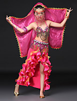 Belly Dance Outfits Children's Performance Spandex Crystals/Rhinestones Cascading Ruffles Sleeveless Dropped Skirts Bra Belt Headpieces