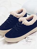 Недорогие -Для женщин Обувь Полиуретан Зима Удобная обувь Ботинки Плоские Круглый носок Закрытый мыс Ботинки для Повседневные Черный Миндальный