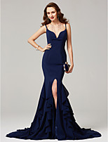 cheap -Mermaid / Trumpet Spaghetti Straps Sweep / Brush Train Chiffon Formal Evening Dress with Ruffles Pleats by TS Couture®