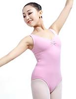 cheap -Ballet Leotards Women's Performance Elastane Pleated Sleeveless Natural Leotard