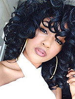 cheap -Women Synthetic Wig Medium Length Loose Wave Natural Black With Bangs Natural Wigs Costume Wig