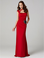 Sheath / Column High Neck Sweep / Brush Train Polyester Formal Evening Dress with Pleats by TS Couture®