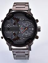Недорогие -Муж. Повседневные часы Китайский Кварцевый Календарь С тремя часовыми поясами сплав Группа Cool Черный