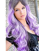abordables -Femme Perruque Synthétique Long Ondulé Noir / Violet Partie latérale Perruque de Cosplay Perruque Déguisement