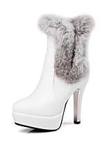 Недорогие -Для женщин Обувь Дерматин Зима Осень Модная обувь Ботильоны Ботинки Высокий каблук Круглый носок Ботинки Сапоги до середины икры для Для