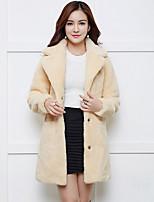 economico -Cappotto di pelliccia Da donna Quotidiano Vintage Inverno Autunno,Tinta unita A V Pelliccia sintetica Lungo Maniche lunghe Oversized