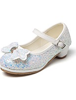 cheap -Girls' Shoes Glitter Spring Fall Comfort Flower Girl Shoes Tiny Heels for Teens Heels Rhinestone Bowknot Magic Tape for Wedding Dress