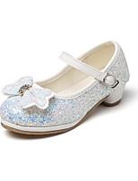 preiswerte -Mädchen Schuhe Glanz Frühling Herbst Komfort Schuhe für das Blumenmädchen Tiny Heels für Teens High Heels Strass Schleife Klettverschluss