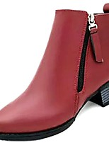 cheap -Women's Shoes PU Spring Fall Comfort Fashion Boots Boots Chunky Heel Round Toe Booties/Ankle Boots for Casual Wine Black