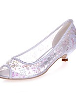 Women's Shoes Paillette Spring Summer Basic Pump Wedding Shoes Null Kitten Heel Peep Toe Null / For Wedding Party & Evening Ivory Light
