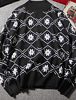 Недорогие -Для мужчин На каждый день На выход Уличный стиль Обычный Пуловер С принтом,Круглый вырез Длинный рукав Полиэстер Зима Осень Толстая
