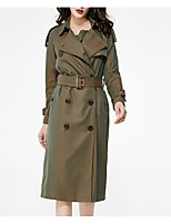 cheap -Women's Casual/Daily Simple Winter Fall Trench Coat,Solid Shirt Collar Long Sleeve Long Others Oversized