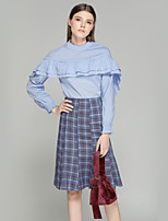 cheap -SHE IN SUN Women's Daily Work Casual Fall Shirt Skirt Suits,Solid Plaid Stand Long Sleeve Polyester Micro-elastic