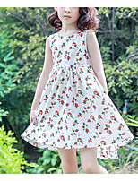 Girl's Holiday Casual/Daily Print Dress,Polyester Summer Sleeveless Simple White