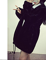 Women's Casual/Daily Simple Winter Fall Fur Coat,Solid Hooded Long Sleeve Short Others Oversized
