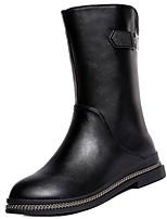 preiswerte -Damen Schuhe PU Winter Herbst Komfort Modische Stiefel Stiefel Niedriger Heel Runde Zehe Mittelhohe Stiefel für Normal Schwarz