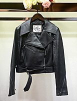 cheap -Women's Daily Vintage Fall Leather Jacket,Solid Shirt Collar Long Sleeve Regular PU