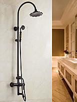 preiswerte -Art Deco / Retro Mittellage Handdusche inklusive Keramisches Ventil Zwei Griffe Zwei Löcher Öl-riebe Bronze , Duscharmaturen