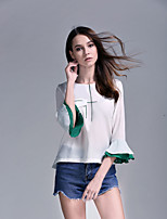 cheap -Women's Daily Going out Cute Casual Spring Fall T-shirt,Solid Round Neck ¾ Sleeve Polyester Opaque