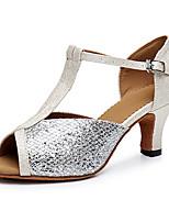 """economico -Da donna Balli latino-americani Finta pelle Sneaker Addestramento Intagli Basso Nero Argento 1 """"- 1 3/4"""" Personalizzabile"""