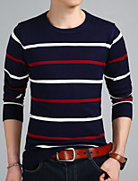 Men's Casual/Daily Simple Regular Pullover,Striped Round Neck Long Sleeves Wool Blend Winter Fall Thick Micro-elastic
