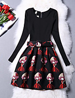 cheap -Girl's Daily Going out Solid Floral Sexy Lady Dress,Cotton Polyester Winter Fall Long Sleeves Vintage Cute Princess Red