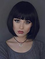 Недорогие -жен. Человеческие волосы без парики Черный Medium Auburn Бежевый Blonde // Bleach Blonde Средний Естественные прямые Стрижка боб С чёлкой