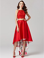 Princess Two Piece Spaghetti Straps Asymmetrical Satin Formal Evening Dress with Appliques Pattern / Print by TS Couture®