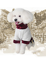 Недорогие -Собака Платья Одежда для собак Сохраняет тепло шаблон платье Бижутерия В полоску Животные Животные принты Кофейный Костюм Для домашних
