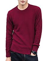 Недорогие -Для мужчин На каждый день Офис Простой Очаровательный Уличный стиль Обычный Пуловер Однотонный,Круглый вырез Длинный рукав Полиэстер