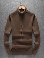 Недорогие -Для мужчин На каждый день Простой Обычный Пуловер Однотонный,Хомут Длинный рукав Полиэстер Смесь шерсти Зима Осень Толстая Слабоэластичная