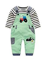 cheap -Baby Boys' Daily Striped Print Clothing Set,Cotton Spring Fall Cute Long Sleeve Green