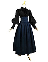 Outfits Victorian Vintage Inspired Costume Women's Adults' Girls' Skirt Blouse/Shirt Blue/Black Vintage Cosplay Cotton Long Sleeves