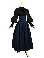 Completi Ispirazione Vintage Vittoriano Costume Donna Per adulto Gonna Top o camicia Blu / nero Vintage Cosplay Cotone Manica lunga A