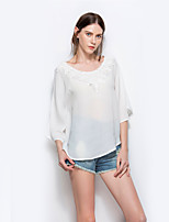 cheap -Women's Daily Holiday Casual Street chic Spring Fall T-shirt,Solid Round Neck Long Sleeve Polyester
